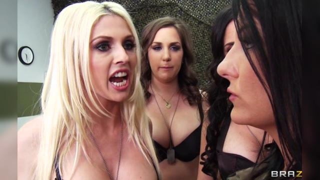 214 Kiera King amp Brandy Aniston amp Casey Cumz amp Christie Stevens Pass That Slut Around the Barracks
