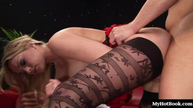 Blonde cock addict with big boobs, Paige Ashley, get her shaved pussy and