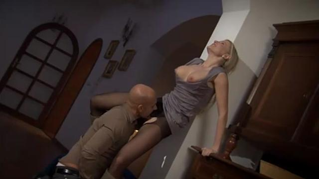 Nice blonde in.net nylons is fucked by new neighbor Panty