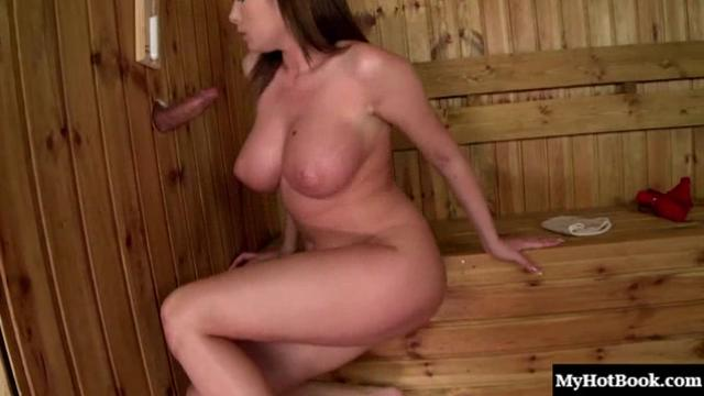 Sexy brunette with big boobs, Dona Bell, is is having a schvitz in
